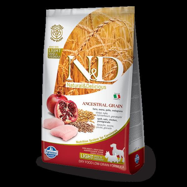 N&D Low Ancestral Grain Chicken & Pomegranate Light Mini dOG-2,5Kg
