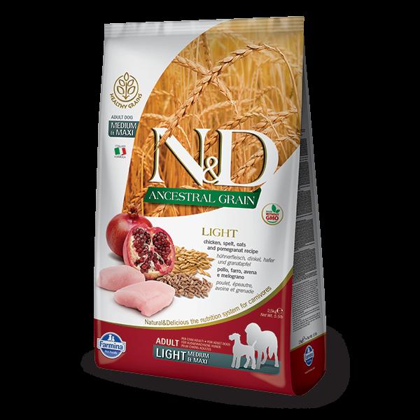N&D Low Ancestral Grain Chicken & Pomegranate Light Medium-Maxi Dog-12Kg