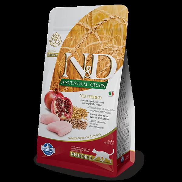 N&D LOW ANCESTRAL CHIKEN AND POMEGRANATE NEUTERED Feline -1,5kg