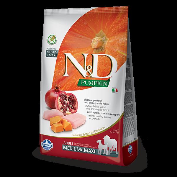 N&D Pumpkin Chicken & Pomegranate Adult Dog Medium Maxi 2,5Kg