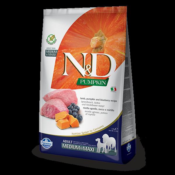 N&D Pumpkin Lamb & Blueberry Adult Dog Medium Maxi 2,5Kg