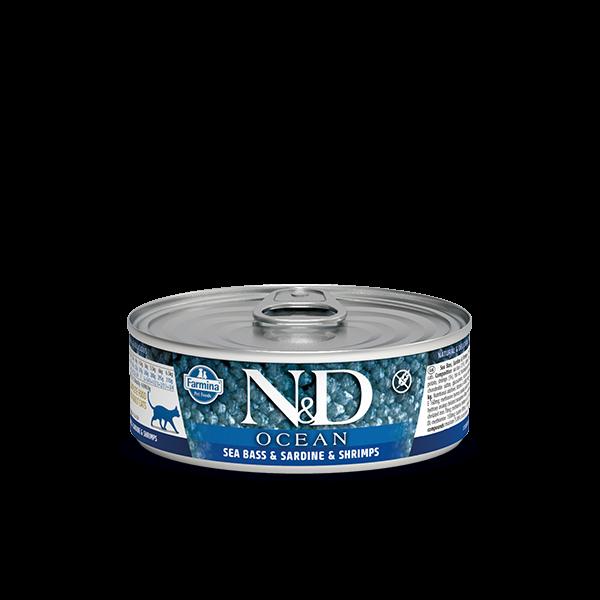 N&D Ocean Sea Bass, Sardine & Shrimp Adult wet food 80g