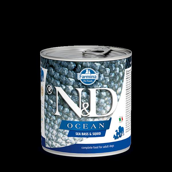 N&D OCEAN - SEA BASS & SQUID DOG WET FOOD 285g