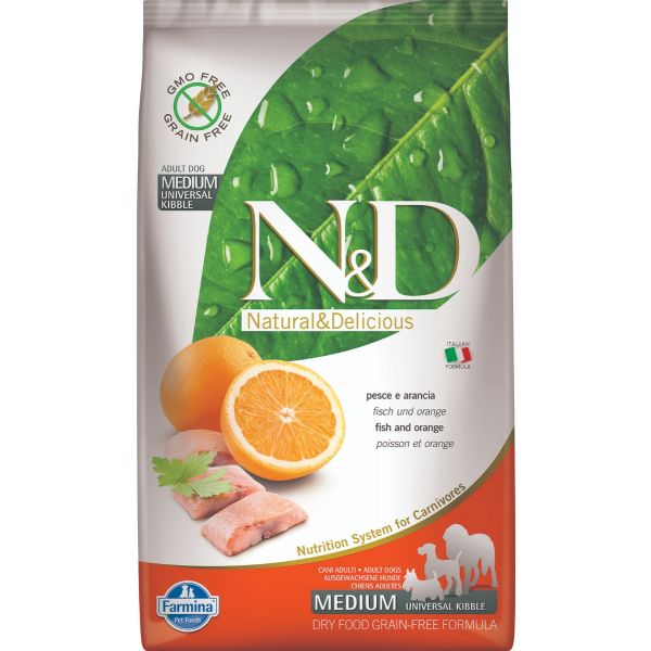 N&D Grain Free Fish & Orange Adult Medium 2,5Kg - 12Kg