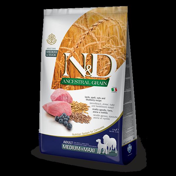N&D Low Ancestral Grain Lamb & Blueberry Adult Medium/Maxi Dog-2,5Kg