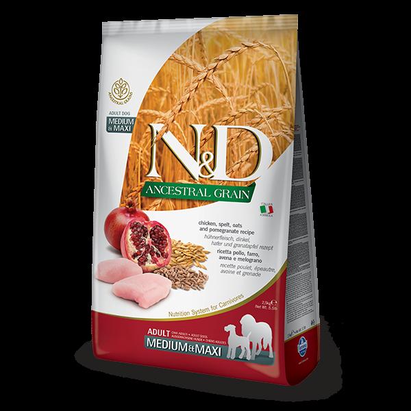 N&D Low Ancestral Grain Chicken & Pomegranate Adult Medium/Maxi Dog-12Kg