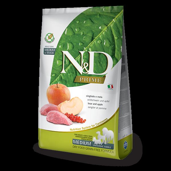 N&D Grain Free Prime Boar & Apple Adult Medium/Maxi Dog-12Kg