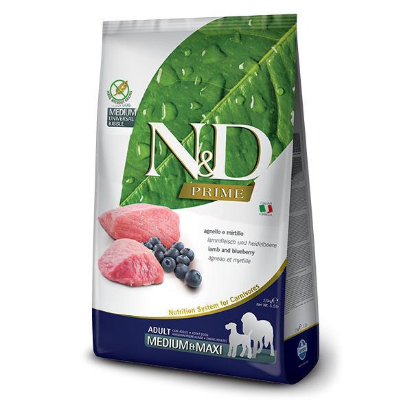 N&D Grain Free Prime Lamb & Blueberry Adult Medium/Maxi Dog-2,5Kg
