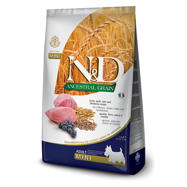 N&D Low Ancestral Grain Lamb & Blueberry Adult Mini Dog- 2,5Kg