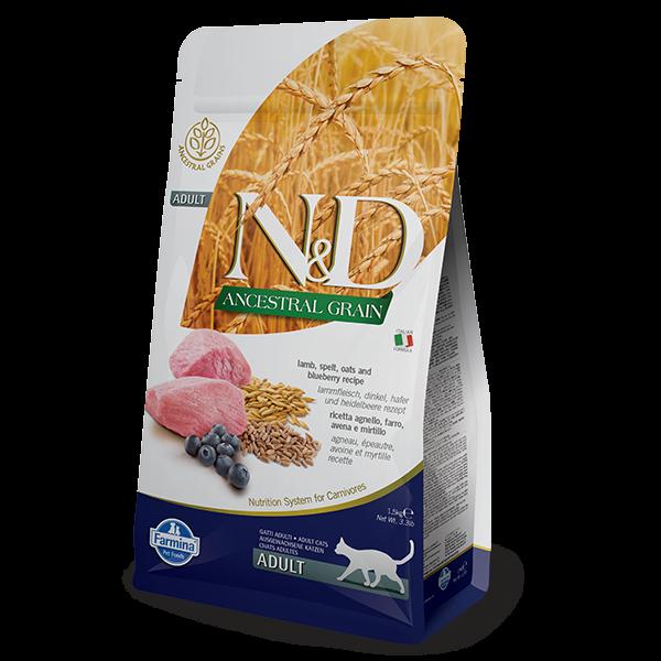 N&D Low Ancestral Grain Lamb & Blueberry Adult feline -5Kg