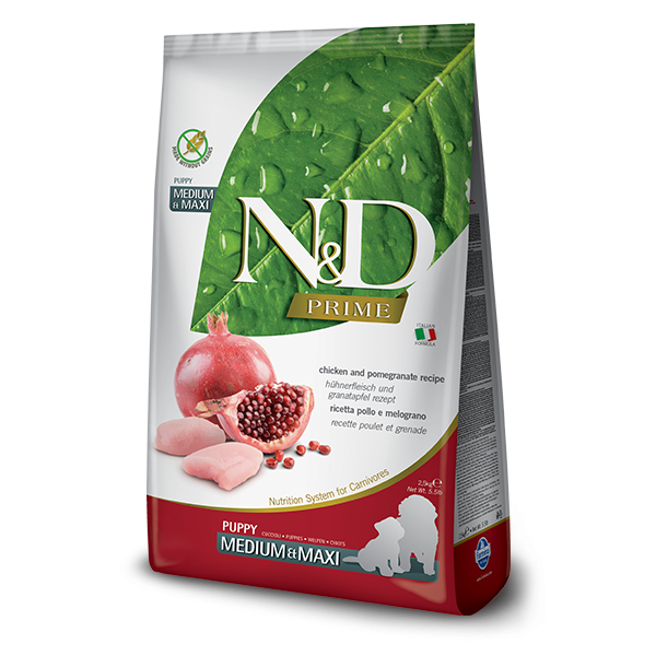 N&D Grain Free Prime Chicken & Pomegranate Puppy Med/Maxi Dog-2,5Kg