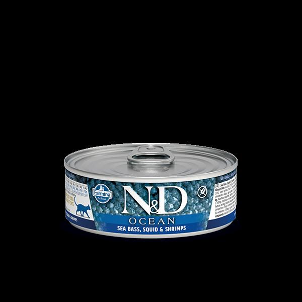 N&D Ocean Sea Bass, Squid & Shrimp Adult wet food 80g